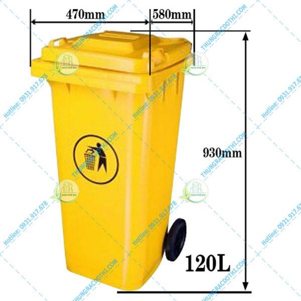 Kích thước thùng rác 120L