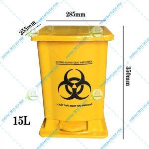 kích thước thùng rác bệnh viện 15 lít