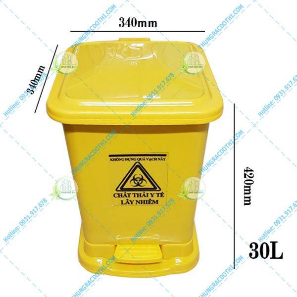 kích thước thùng rác y tế 30 lít