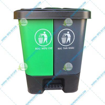 Thùng rác phân loại rac hai ngăn