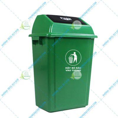 Thùng rác nhựa HDPE 40 lít nắp lật Push