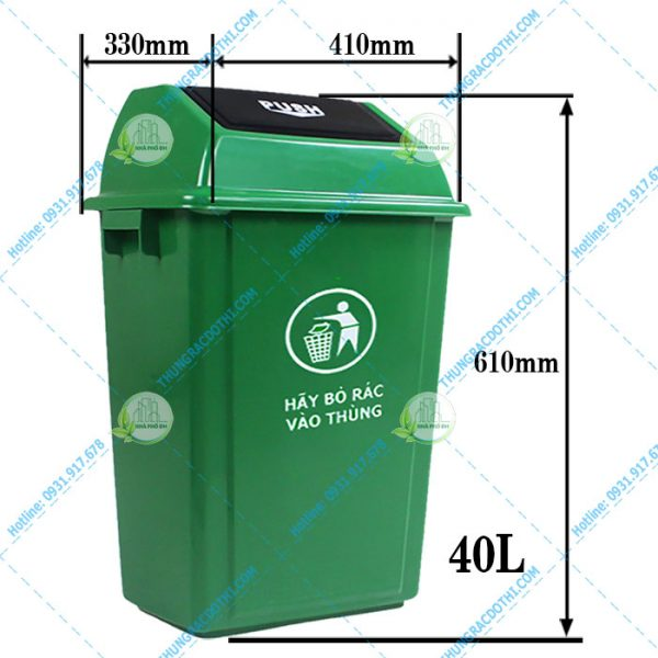 Kích thước thùng rác 40 ít nắp lật