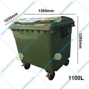 Kích thước thùng rác ngoài trời 1100 Lít