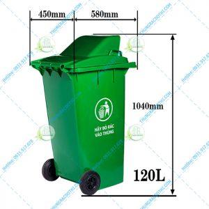 Kích thước thùng rác nhựa 120 Lít nắp hở