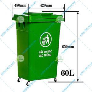 kích thước thùng rác nhựa 60 Lít
