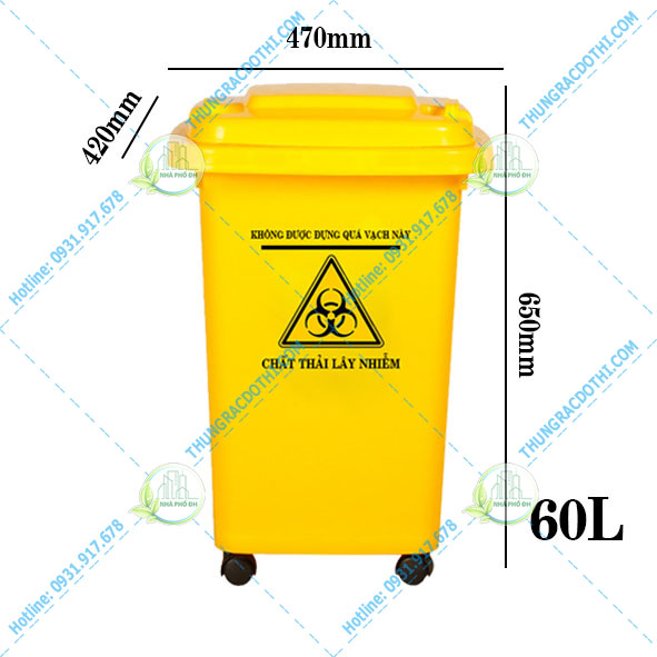 kích thước thùng rác y tế 60 lít
