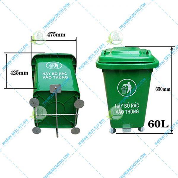 kích thước thùng rác y tế đạp chân
