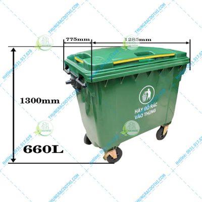 kích thước thùng rác nhựa 660 Lít