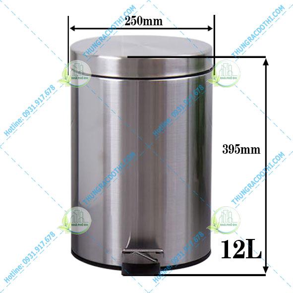 kích thước thùng rác inox 12 lít