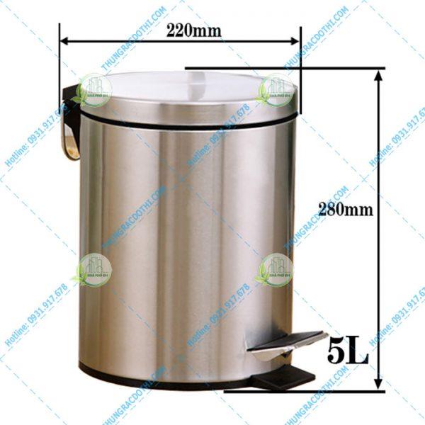 kích thước thùng rác inox 5 lít