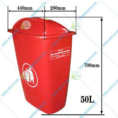 kích thước thùng rác composite 50 lít