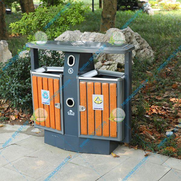 thùng rác gỗ đôi quảng trị