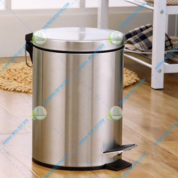 thùng rác inox 304 8 lít đạp chân