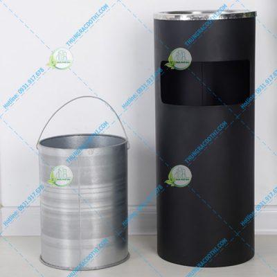 thùng rác inox có gạt tàn thuốc