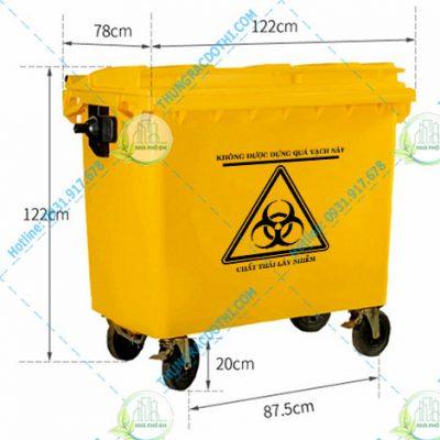 Kích thước thùng rác y tế