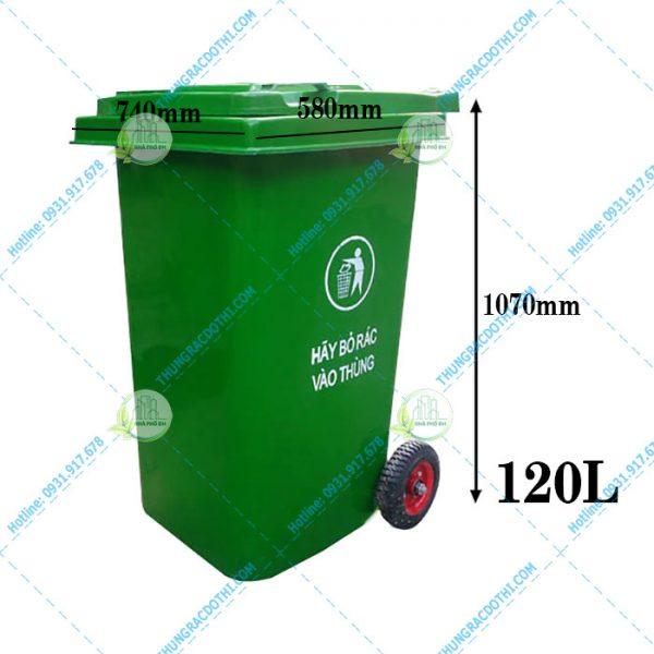 kích thước thùng rác 240 lít