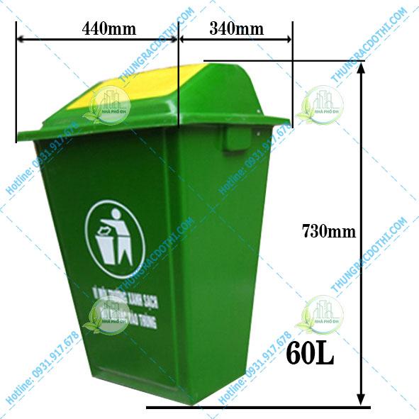 kích thước thùng rác 60 lít