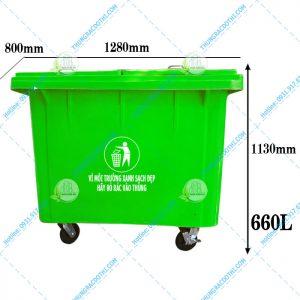 kích thước thùng rác 600 lít