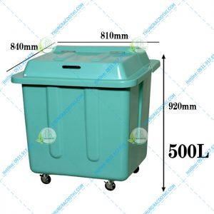 kích thước thùng rác composite 500 lít
