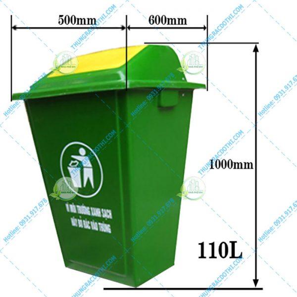 kích thước thùng rác composite 110 lít