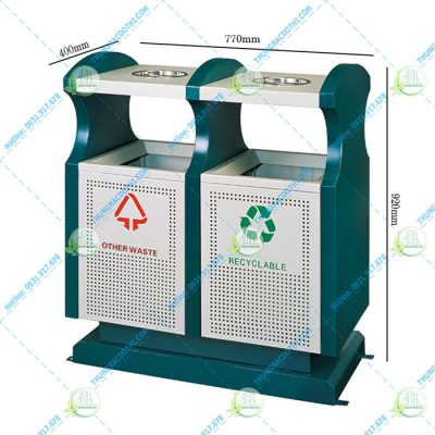 thùng rác thép phun sơn hn70