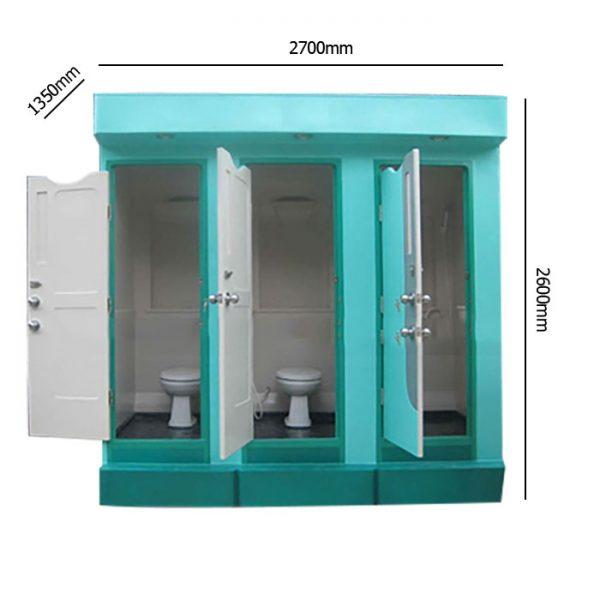 kích thước toilet công cộng 3 buồng