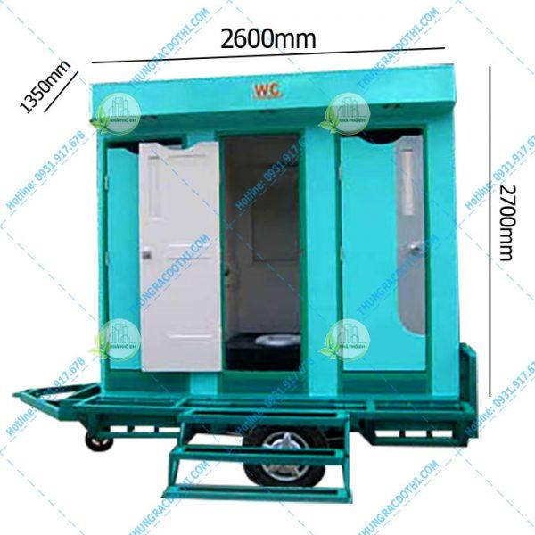 nhà vệ sinh di động 3 buồng có xe kéo