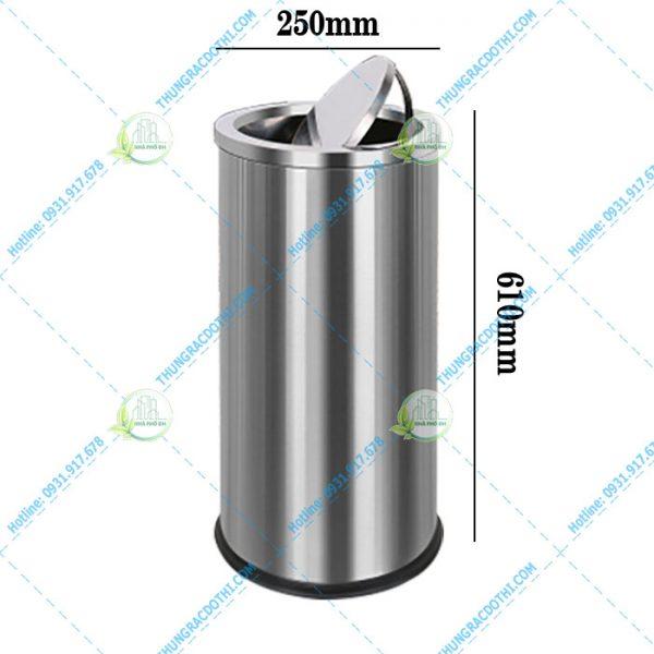 thùng rác inox nắp lật 20 lít