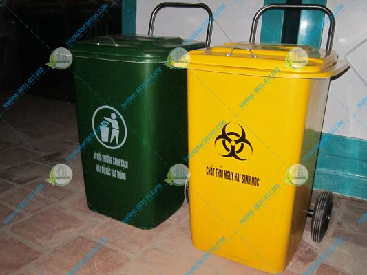 thùng rác 90l có nắp composite