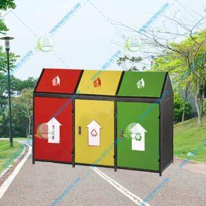 thùng rác ngoài trời 3 màu