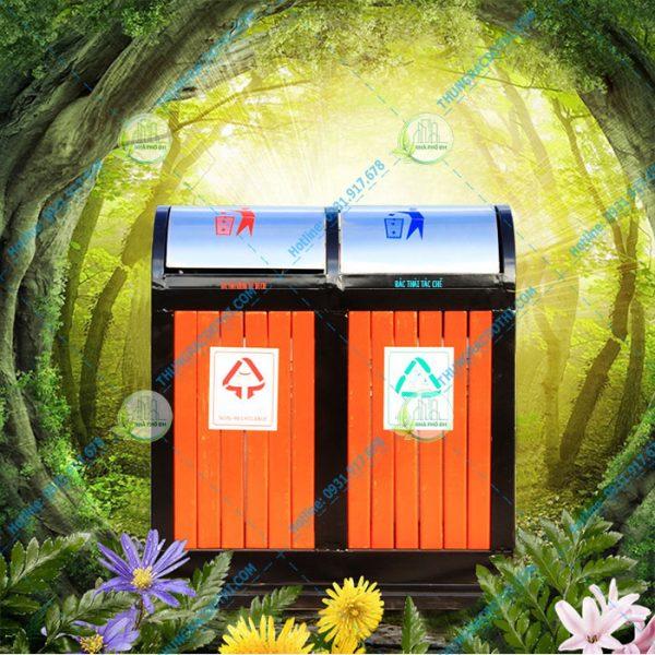 thùng rác bằng gỗ ngoài trời