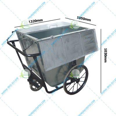 xe thu gom rác công nghiệp bằng hoa tôn 500 lít