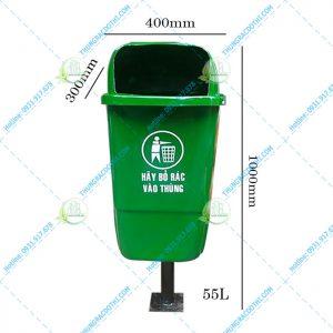 kích thước thùng rác treo khung 55 lít