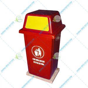 thùng rác 90 lít nắp đẩy