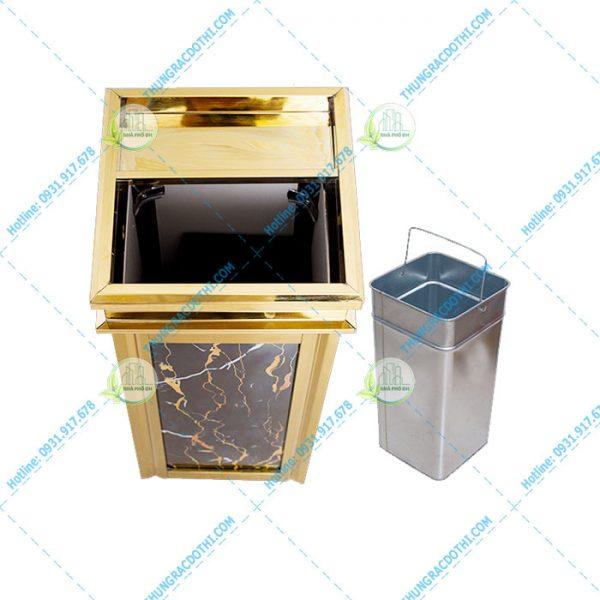 thùng rác đá hoa cương