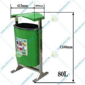 kích thước thùng rác nhựa trường học