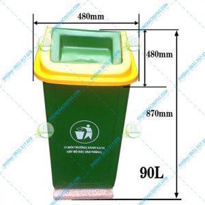 kích thước thùng rác 90 lít nắp lật