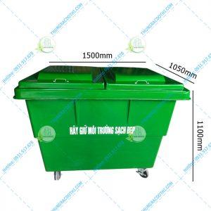 kích thước xe thu gom rác 1000 lít
