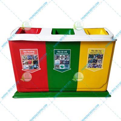 thùng rác nhựa 3 ngăn 60 lít