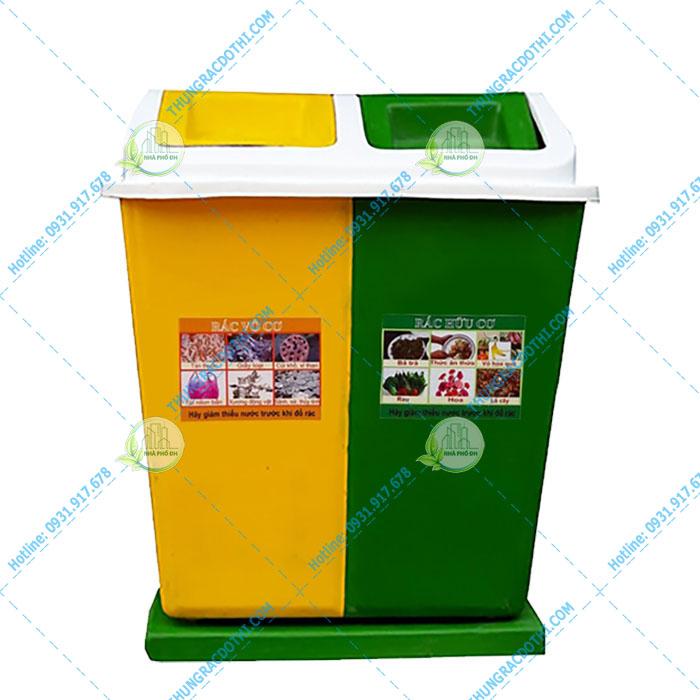 thùng rác 2 ngăn 60 lít nhựa composite
