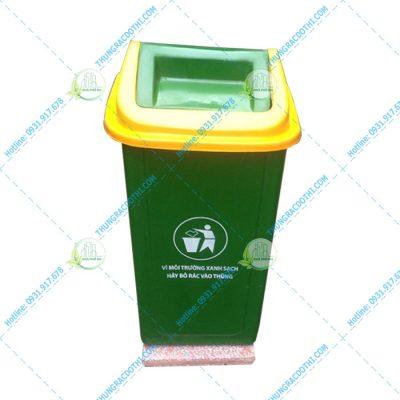 thùng rác 70 lít nắp bập bênh