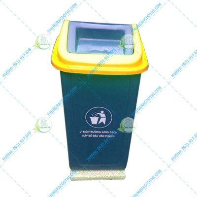 thùng rác composite nắp bập bênh