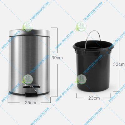 thùng rác đạp chân tròn 12 lít