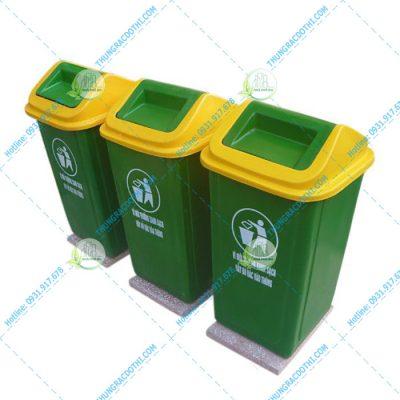 thùng rác nhựa có đá cố định