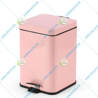 thùng rác văn phòng đẹp màu hồng