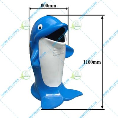 kích thước thùng rác hình cá heo