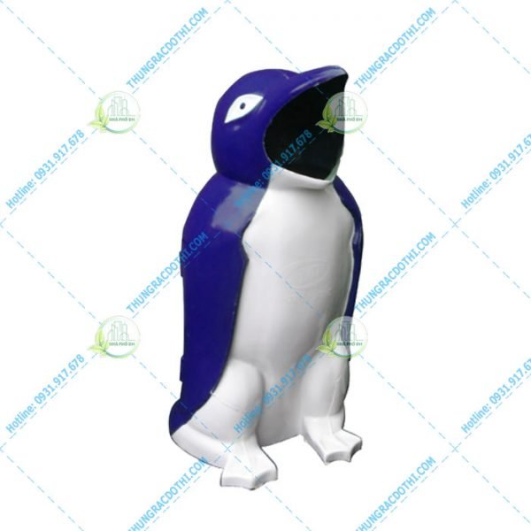 thùng rác trường học chim cánh cụt