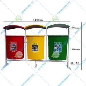 kích thước thùng rác 3 màu