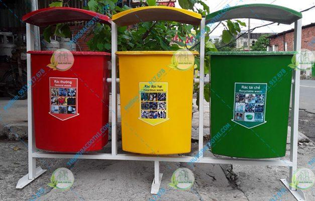 thùng rác 3 màu trường học